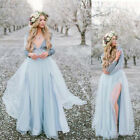 Sexy High Split Tulle Country Wedding Dresses Bohemian Beach Bridal Gown