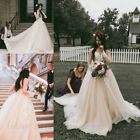 Lace Appliques Champagne Wedding Dresses Country Garden Long Sleeve Bridal Gowns