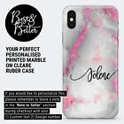 Personalised Rose Gold Marble initials Name Custom Phone Case Cover iPhone L79