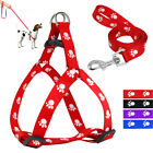 Step In Small Dog Harness Leads Nylon Paw Print Strap Vest for Pet Puppy Yorkie