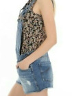 BRAND NEW Pimkie Womens Denim Distressed Fray Dungaree Shorts Hot Pants in 6-10