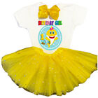 Baby Shark 1st First Birthday Yellow Tutu Outfit Girl Head-bow