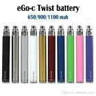 Ego type C Twist Variable Voltage Battery 650,900,1100mAh + charger Ships Free