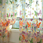 Butterfly Floral Sheers Curtain Door Window Voile Tulle Curtain Scarf Valance