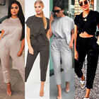 Womens 2Pcs Short Sleeve Tops Pants Summer Casual Tracksuit Drawstring Jumpsuits