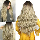 28'' Long Wavy Synthetic Wig Ombre Black Blonde Natural Hair Wigs Women Cosplay