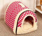 Pet Bed House Small Medium Dog Cat Hand Wash Travel Foldable Kennel With Mat