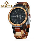 BEWELL Colorful Mens Wood Watches Day/Week Display Quartz Wooden Watch for Men image