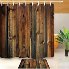 Fabric Rustic Wood Shower Curtain 3D Print Waterproof Mildewproof Bathroom