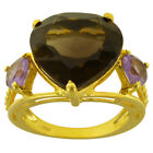 12.3 Ctw Smoky Quartz ,Citrine 925 Sterling Silver Engagement Ring Size 6 #236