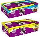 WHISKAS 1+ ADULT POUCHES 100G poultry or fish wet cat food in jelly feed bp meal