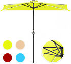 Outdoor 8.5 ft Solar LED Strip Lighted Half Patio Umbrella Cover Hand Crank New