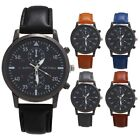 Men's Fashion Leather Band Sports Watch Quartz Analog Casual Business Wristwatch