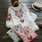 Womens Loose Embroidery Cotton Ethnic Retro Shirts 3/4 Sleeve Tops Casual Loose