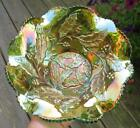 MILLERSBURG HOLLY WHIRL GREEN CARNIVAL GLASS SIX RUFFLE BOWL