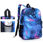 Boys Girls School Book Bags Backpack Students Padded Strap Galaxy Print Rucksack