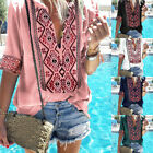 Women Plus Size V Neck Tops Ethnic Style Printed Blouse Boho Shirts T-shirt GIFT