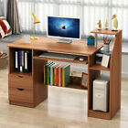 Home Office Computer Desk Bookcase Workstation Study Table Cabinet w/ Drawers US