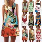 Summer Women's Sleeveless Digital Floral Print Mini Dress Loose Casual Long Tops