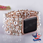 3D Pearl Rhinestone Diamond Watch Band Bracelet Strap For Apple Watch Iwatch image