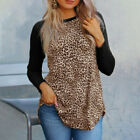 Womens Leopard Print Patchwork Long Sleeve Loose T-Shirt Tops Casual Blouse Plus