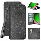 """For T-Mobile REVVLRY (5.7"""") BLING Glitter Shiny Folio Stand Wallet Cute Case"""