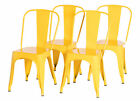 New Bold Tones Industrial Metal Dining Bistro Chair with Back