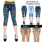 Fashion Women's Leggings Jeans Look Printed Stretch Capri Casual Pants GIFT
