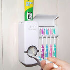 Auto Automatic Toothpaste Dispenser 5 Toothbrush Holder Set Wall Mount Stand A