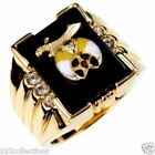 Shriner Mason Black Onyx 3 Clear Crystal Stone Gold Plated Men Ring Size 8-14