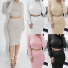 Fashion Women Solid Color Long Sleeve Crop Tops Skirt Knitted Bodycon Outfit Set