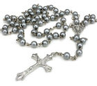 Rosary Long Glass Beads Cross Rosary Necklace in Silver Tone For Women Men Girl <br/> Buy 2 Get 1 Free-add any 3 colour to basket.