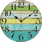 Wall Clock Vintage 12 Colorful Stripe Design Rustic Country Tuscan Wooden Decor