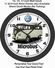 1958 VOLKSWAGEN 11 WINDOW MICROBUS WALL CLOCK-VW, TRIUMPH, BMW, FORD