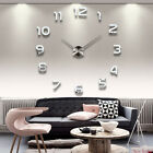 Modern 3D DIY Large Frameless Wall Clock Mirror Number Sticker Home Decal Decor