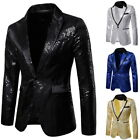 Men Sequin One Button Blazer Suit Jacket Shiny Wedding Formal Dance Club Coat