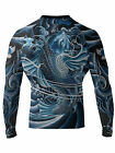 Raven Fightwear Men's Irezumi 2.0 Rash Guard MMA BJJ Blue
