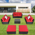 9pcs Outdoor Furniture Rattan Sofa Set Sectional Ottoman Couch Cushioned Garden