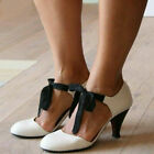 Womens Vintage Round Toe Lace Up Sandals Ladies Kitten Heels Mary Jane Shoes US