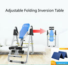 Foldable Inversion Table Home Gyms Reduce Back Pain Stress Flip Upside Down Blue image