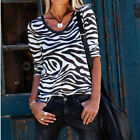 Womens Long Sleeve V Neck Casual Loose Blouse Top Ladies Zebra Printed T-Shirts