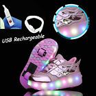 Rechargeable LED Light Up Sneakers Double Wheels Roller Skate Shoes Rose Pink