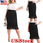 Womens Lace Hem Elastic Waist Casual Office Bodycon Pencil Midi Skirt Plus Size