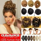 Real 100% Remy Human Hair Scrunchie Clip on Bun Extension Black Brown Blonde US