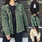 Women Jean Denim Jacket Turn-Down Collar Long Sleeve Casual Coat Outwear GIFT