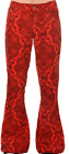 MEN'S RETRO VINTAGE 60'S70'S STYLE  BELLBOTTOM FLARED RED PAISLEY CORDS
