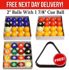 "Standard 2"" Pool / Billiard Balls with 1 7/8"" Cue Ball Pub Grade FREE TRIANGLE £24.99 GBP on eBay"