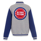 NBA Detroit Pistons Reversible Full Snap Fleece Jacket JH Design Gray Royal on eBay