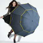 UK Golf Umbrella Automatic Open Extra Large Wind/Waterproof Double Canopy Vented
