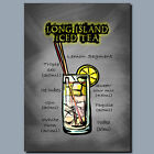 DRINKS AND COCKTAILS Metal Poster Wall Art LONG ISLAND ICED TEA